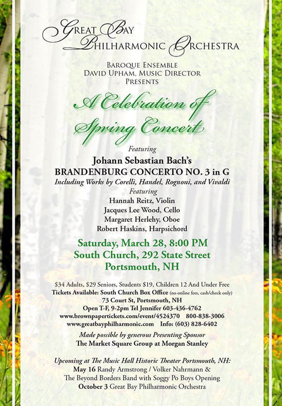 Great Bay Philharmonic Orchestra A Celebration of Spring Concert at South Church Porstmouth NH March 28, 2020 8:00 pm